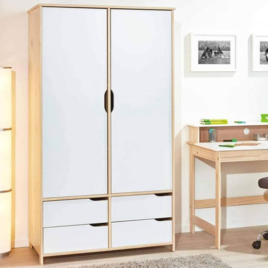 Gudjam FSC 2 Doors Wardrobe In Milkyskin White With 4 Drawers