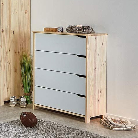 Gudjam FSC Chest Of Drawers In Milkyskin White With 4 Drawers
