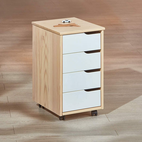Gudjam Office Pedestal Cabinet In Milkyskin White With 4 Drawers