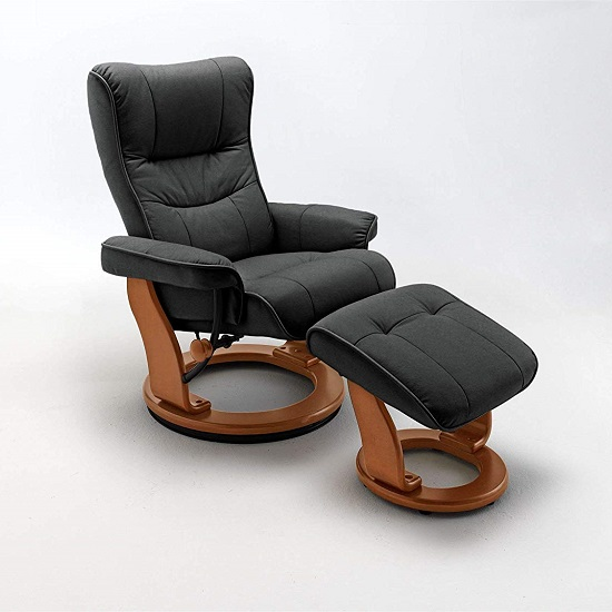 Gumala Recliner Leather Armchair In Black With Footstool