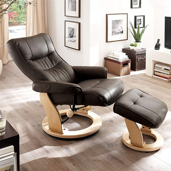 Gumala Recliner Leather Armchair In Brown With Footstool