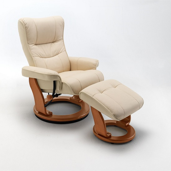 Gumala Recliner Leather Armchair In Cream With Footstool