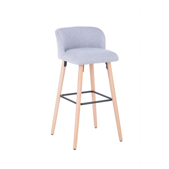 Gunning Fabric Bar Stool In Grey With Wooden Legs