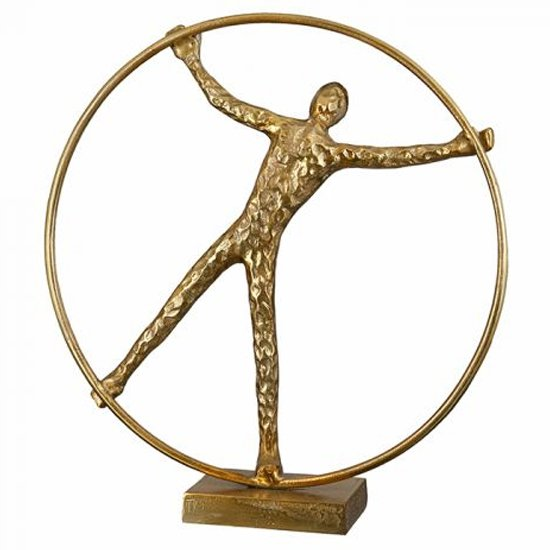 Gym Wheel Aluminium Sculpture In Antique Gold