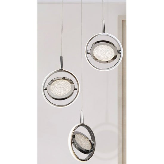 Gyroscope 3 LED Ring Multi Drop Pendant Light In Chrome