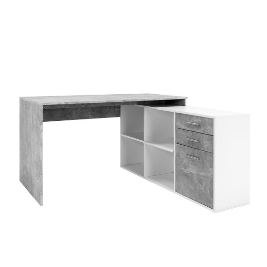Hadley Corner Computer Desk In Structured Concrete And White