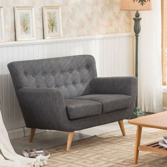 Hadley 2 Seater Sofa In Grey Fabric With Wooden Legs_1