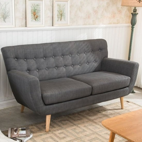 Hadley 3 Seater Sofa In Grey Fabric With Wooden Legs
