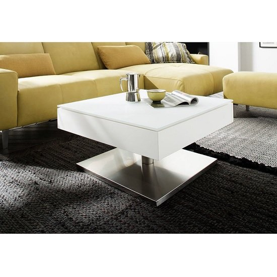 Hadley Storage Glass Coffee Table In Matt White With Metal Base_1