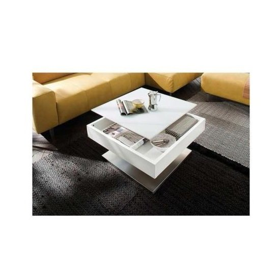 Hadley Storage Glass Coffee Table In Matt White With Metal Base_3