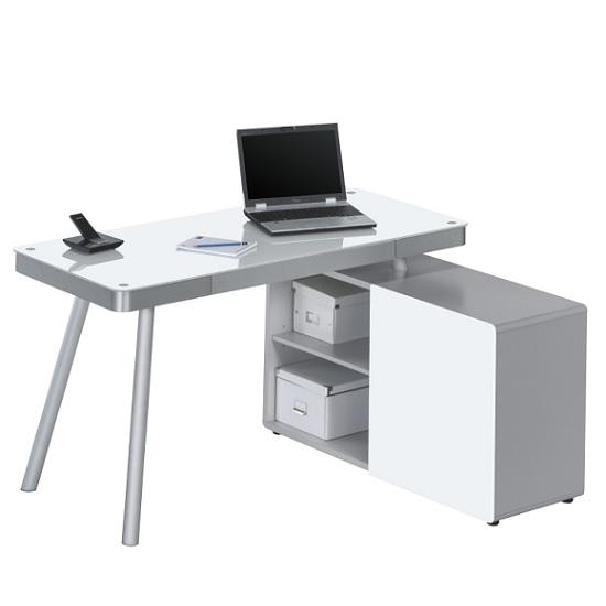 Photo of Hadley corner computer desk in aluminium and white glass