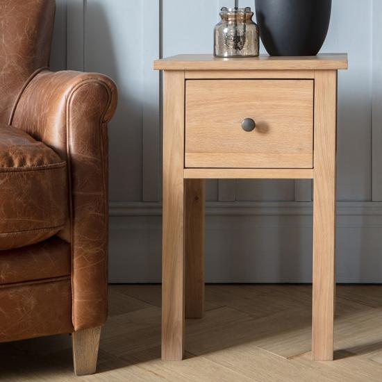 View Hadlow wooden side table in oak