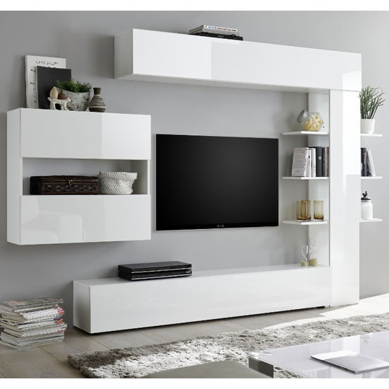 Halcyon Wall Entertainment Unit In White High Gloss_2