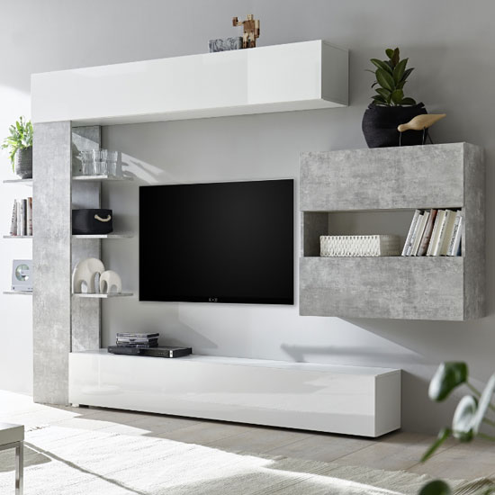 Halcyon Wall Entertainment Unit In White Gloss And Cement Effect_2