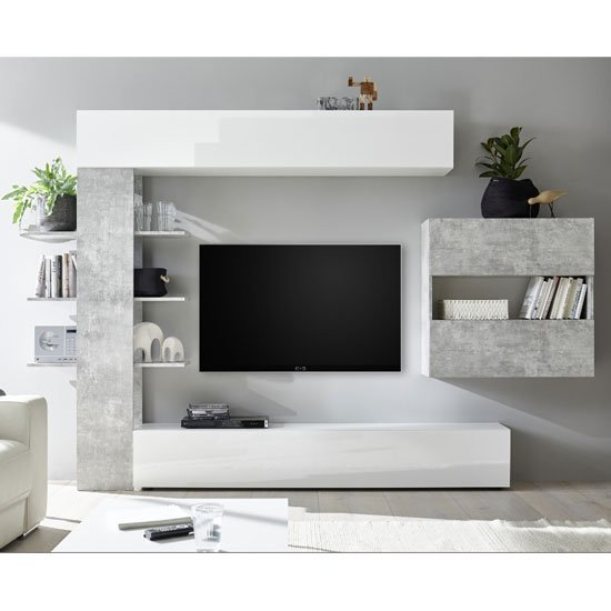Halcyon Wall Entertainment Unit In White Gloss And Cement Effect