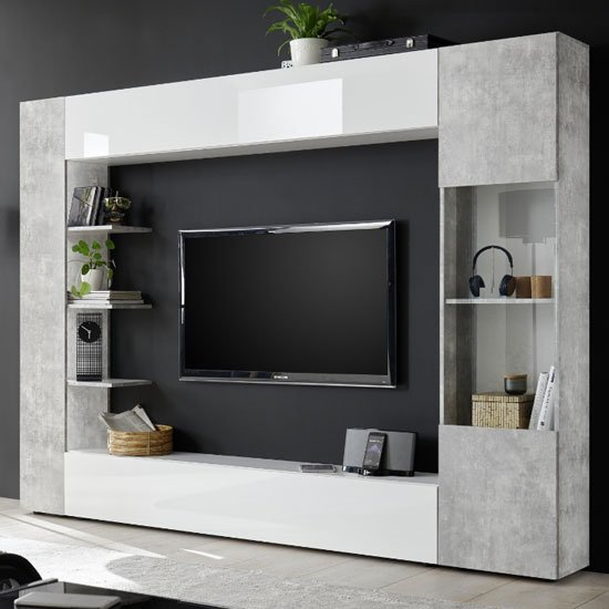 Halcyon White Gloss Large Entertainment Unit In Cement Effect_2