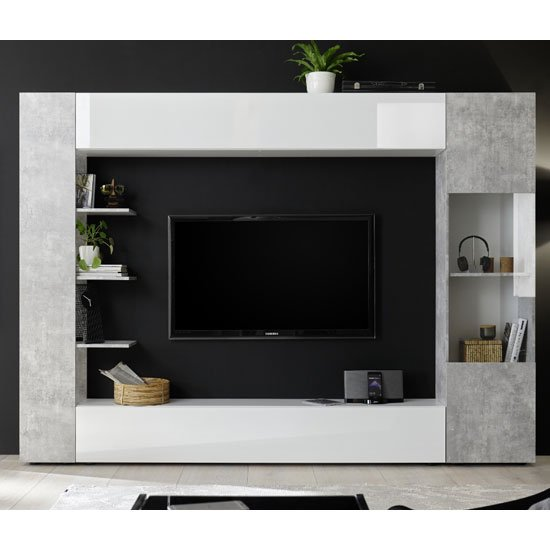 Halcyon White Gloss Large Entertainment Unit In Cement Effect_1