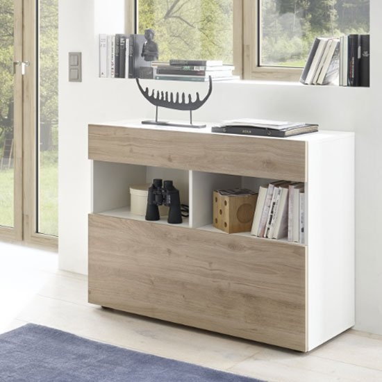 Halcyon Wooden Sideboard In White High Gloss And Cadiz Oak