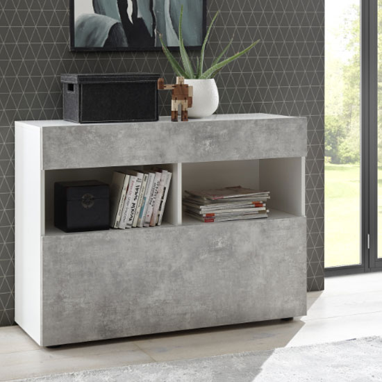 Halcyon Wooden Sideboard In White High Gloss And Cement Effect_1