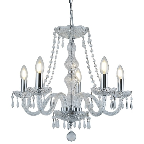 Hale 5 Light Chandelier In Chrome With Crystal Trimmings