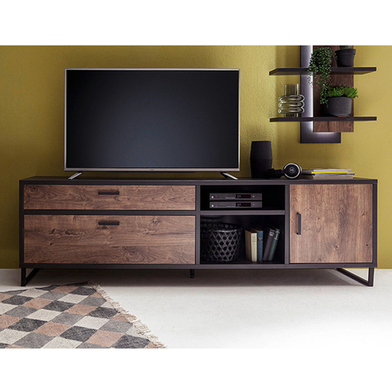 Halifax Large Wooden TV Stand In Barrique Oak