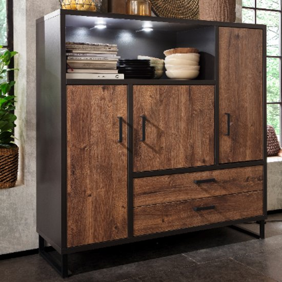 Halifax LED Large Wooden Highboard In Barrique Oak