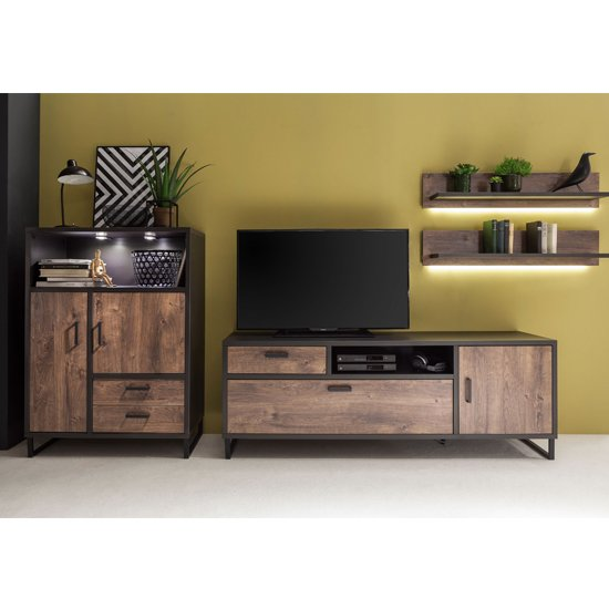 View Halifax led living room set in barrique oak with highboard