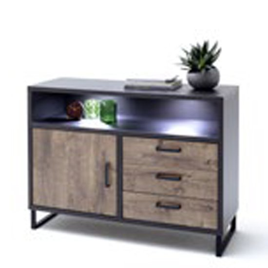 Halifax LED Wide Wooden Chest Of Drawers In Barrique Oak
