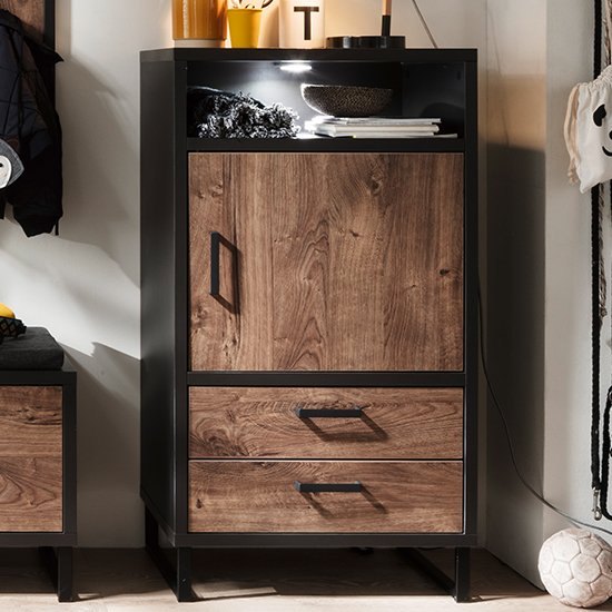 Halifax LED Wooden Chest Of Drawers In Barrique Oak
