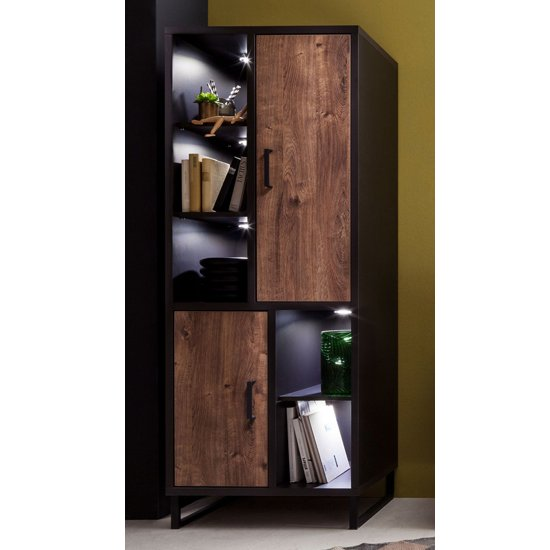 Halifax LED Wooden Display Cabinet In Barrique Oak