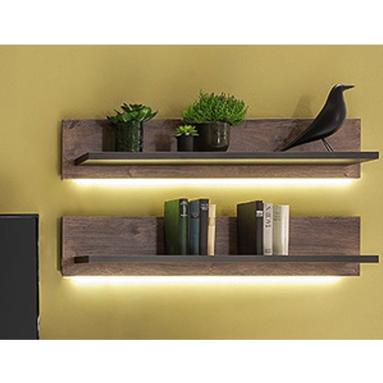 Halifax LED Wooden Wall Shelf In Barrique Oak