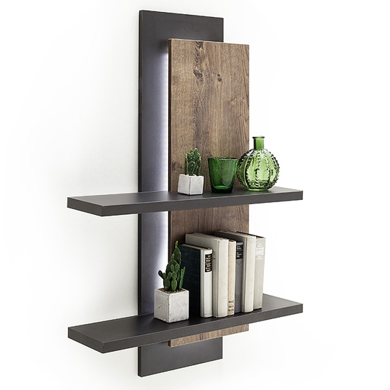 Halifax LED Wooden Wall Shelving Unit In Barrique Oak_2
