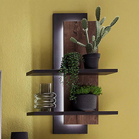 Halifax LED Wooden Wall Shelving Unit In Barrique Oak_1