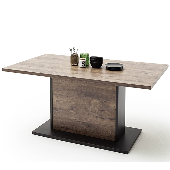 Halifax Wooden Dining Table In Barrique Oak