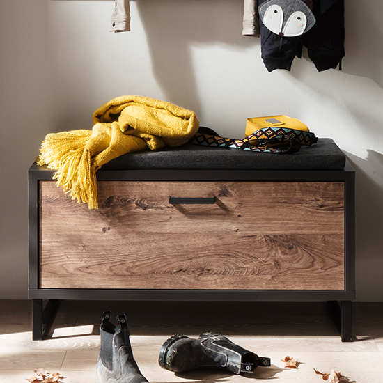 Halifax Wooden Shoe Storage Bench In Barrique Oak