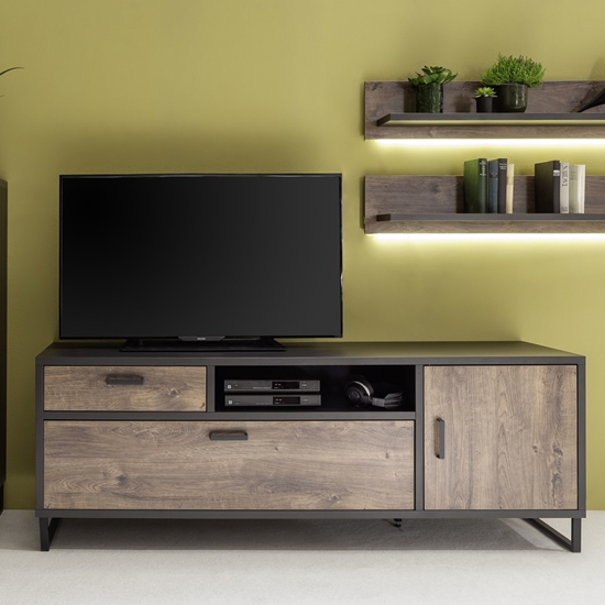 Product photograph showing Halifax Wooden Tv Stand In Barrique Oak