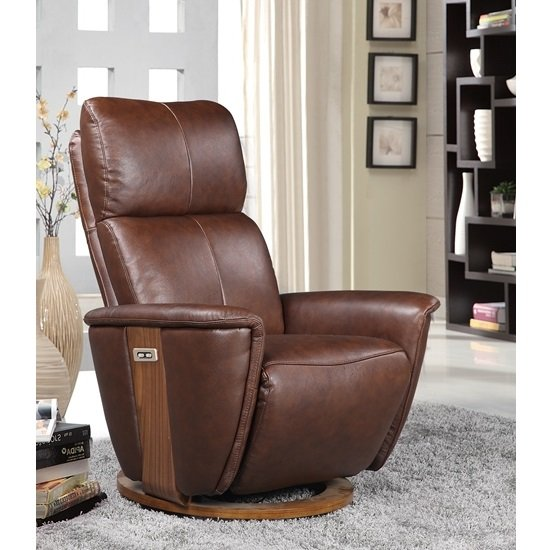 Halifax Electric Recliner Chair In Brown Leather And Walnut