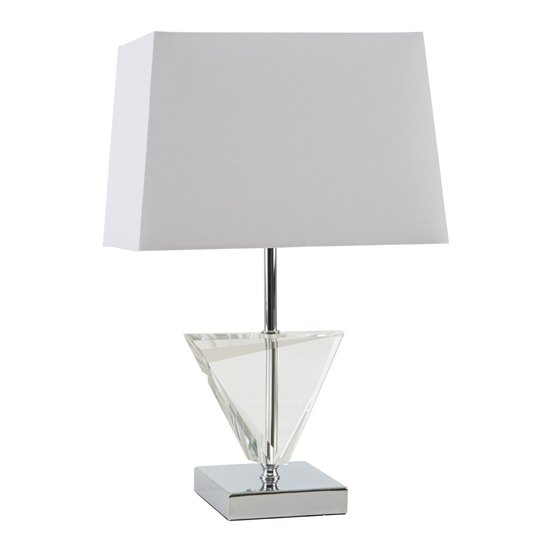 Haliona White Fabric Shade Table Lamp With Chrome Base_1