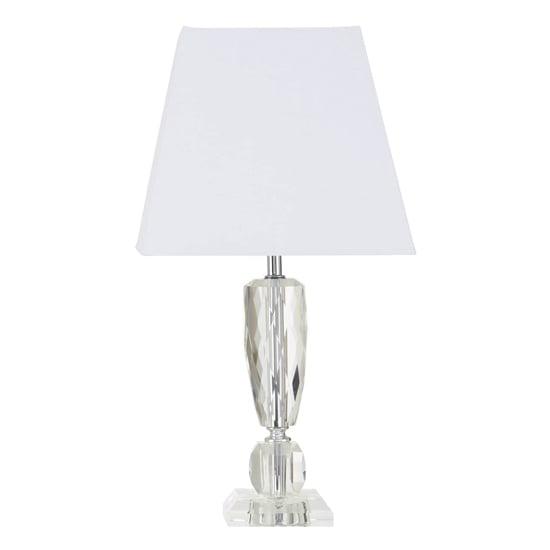 Halipa White Fabric Shade Table Lamp, Crystal Square Base Table Lamp