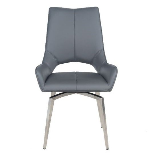 Halle Swivel Dining Chair In Grey Faux Leather_2