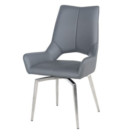 Halle Swivel Dining Chair In Grey Faux Leather_1