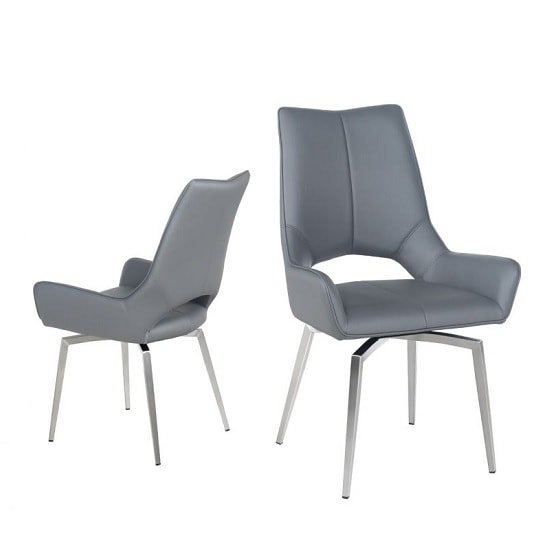 Halle Swivel Dining Chair In Grey Faux Leather_6