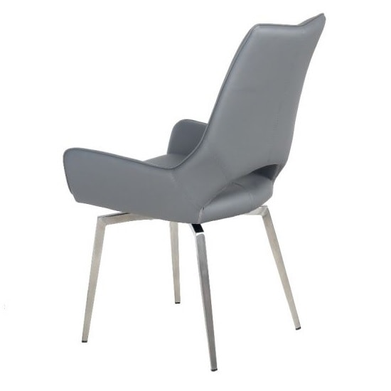 Halle Swivel Dining Chair In Grey Faux Leather_4