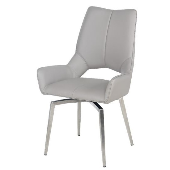 Halle Swivel Dining Chair In Taupe Faux Leather_1