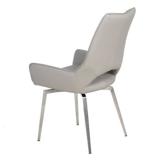 Halle Swivel Dining Chair In Taupe Faux Leather_3