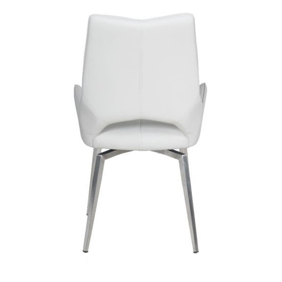 Halle Swivel Dining Chair In White Faux Leather_5