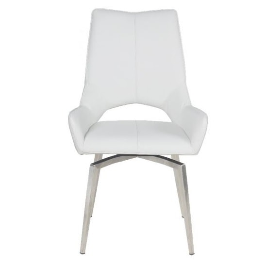 Halle Swivel Dining Chair In White Faux Leather_2
