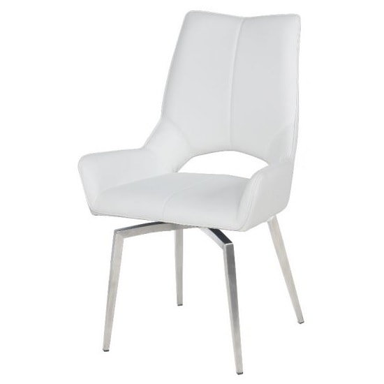 Halle Swivel Dining Chair In White Faux Leather