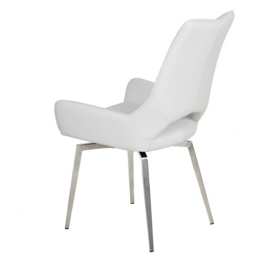 Halle Swivel Dining Chair In White Faux Leather_4