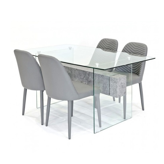 Halley Glass Dining Table Rectangular In Clear And 4 Grey Chairs